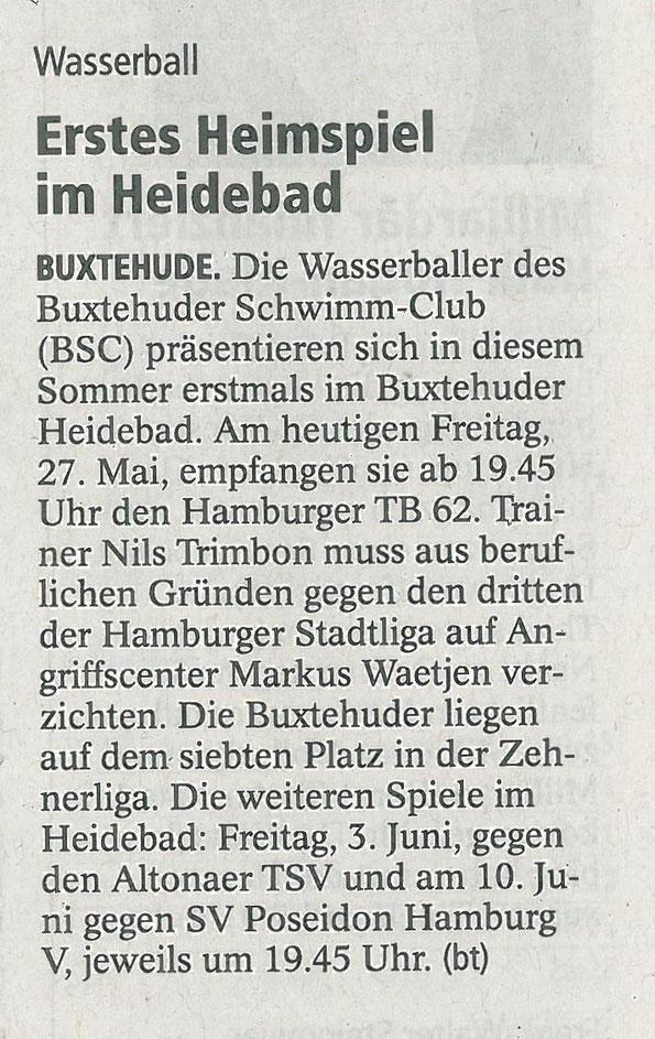 Wasserball/Erstes Heimspiel im Heidebad. Vorbericht im Buxtehuder Tageblatt vom 27. Mai 2016