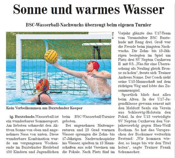 BSC-Wasserball-Nachwuchs überzeugt beim eigenen Turnier, Neue Buxtehuder Wochenblatt vom 18.05.2013