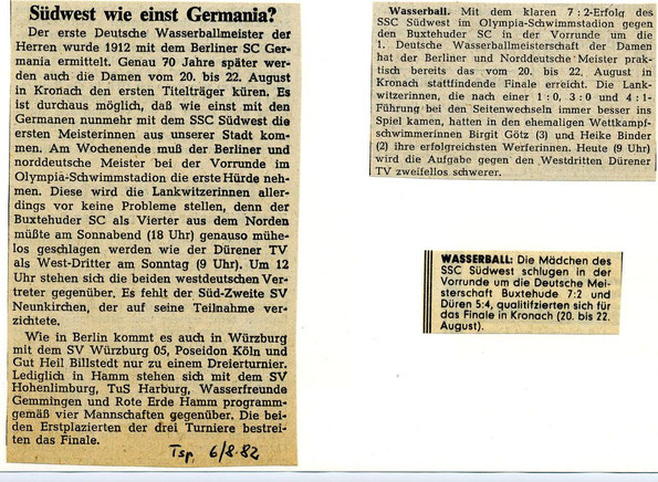 Berliner Pressespiegel zur Vorrunde zur 1. Deutschen Meistschaft im Frauen-Wasserball am 7./8. August 1982