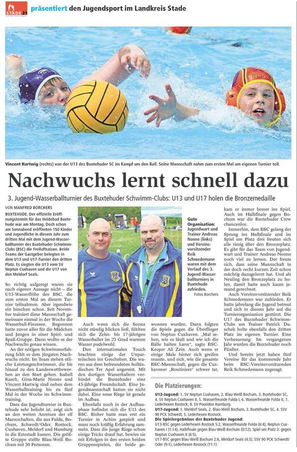 Wasserball: Nachwuchs lernt schnell dazu. Buxtehuder Tageblatt vom 15.05.2013