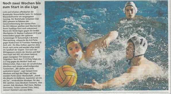 BSC-Wasserball: Torben Lemmel. Buxtehuder Tageblatt vom 27.11.2013