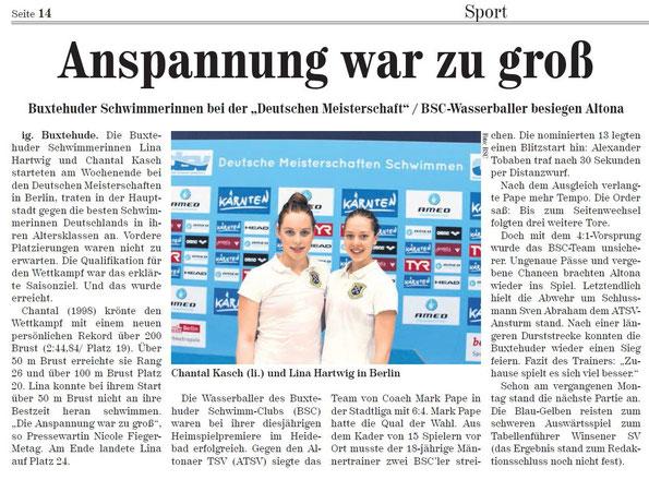 """Buxtehuder Schwimmerinnen bei der """"Deutschen Meisterschaft"""" / BSC-Wasserballer besiegen Altona"""
