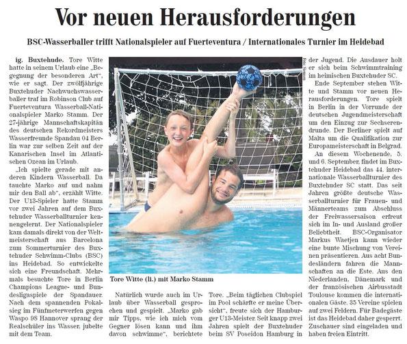Neue Buxtehuder Wochenblatt vom 5. September 2015. Vor neuen Herausforderungen. Internationales Wasserballturnier im Heidebad Buxtehude.