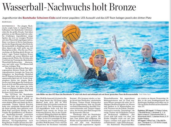 Wasserball-Nachwuchs holt Bronze. Hamburger Abendblatt vom 15.05.2013