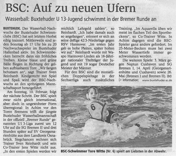 Buxtehuder Tageblatt vom 08.02.2013, BSC-Schwimmer Tore Witte (Nr. 6) spielt am Liebsten in der Abwehr, Buxtehude Wasserball