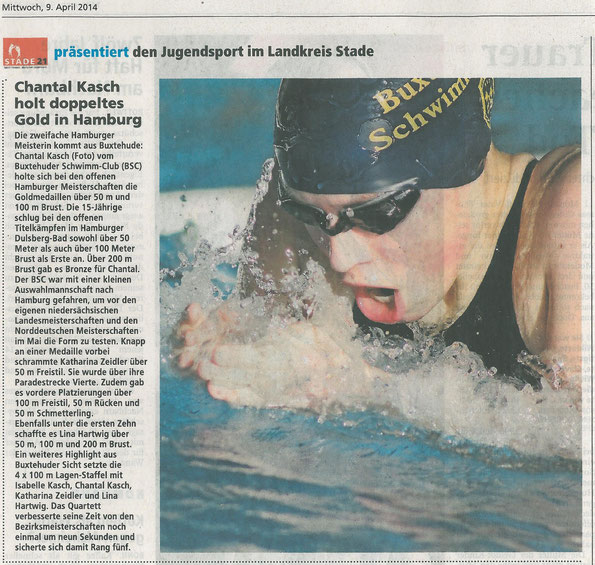 Chantal Kasch holt doppeltes Gold in Hamburg. Buxtehuder Tageblatt vom 09.04.2014