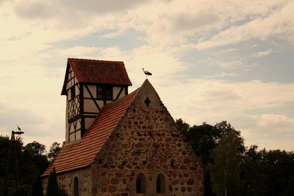 Kassuhner Kirche und 2 Störche