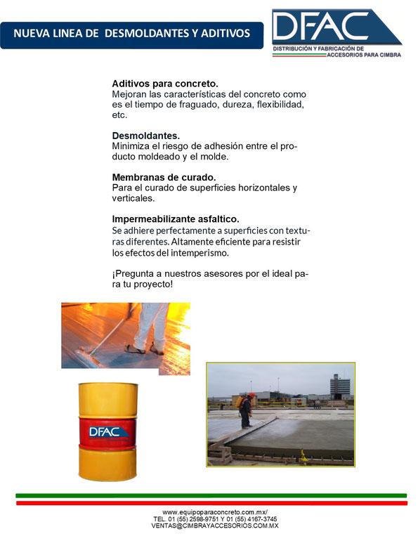 aditivos, desmoldantes, membranas de curado