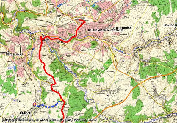 Tourenkarte Blatt 5 zur Radtour von Oelsnitz nach Reichenbach