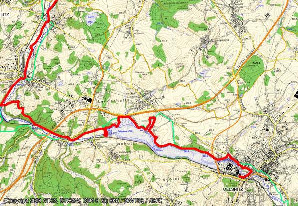 Tourenkarte Blatt 1 zur Radtour von Oelsnitz nach Reichenbach