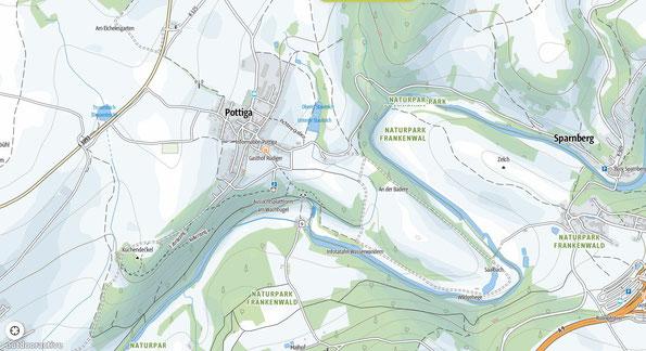 Detailkarte zur Wanderung: zum Skywalk nach Pottiga im thüringischen Vogtland