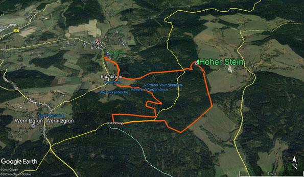 Übersichtskarte zur Wanderung: Zum Hohen Stein - Vysoký kámen 774 m