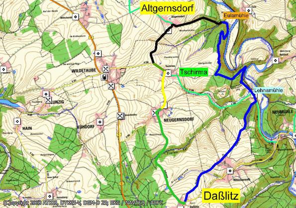 Wanderkarte zur Wanderung im Greizer Land, von Daßlitz zur Eulamühle