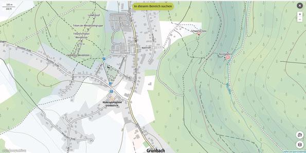 outdooraktive.com - Kartenausschnitt von Grünbach