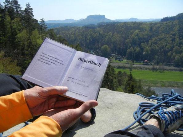 """Die """"Emporkante"""" -Schwierigkeit V, auf den Hirschgrundkegel im Rathener Gebiet, 20.04.2019"""