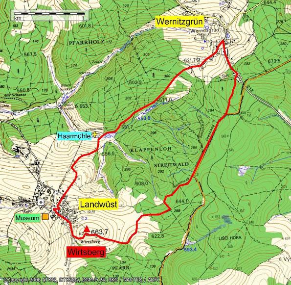 Wanderung auf den Wirtsberg 664m bei Landwüst - Vogtland - Topokarte