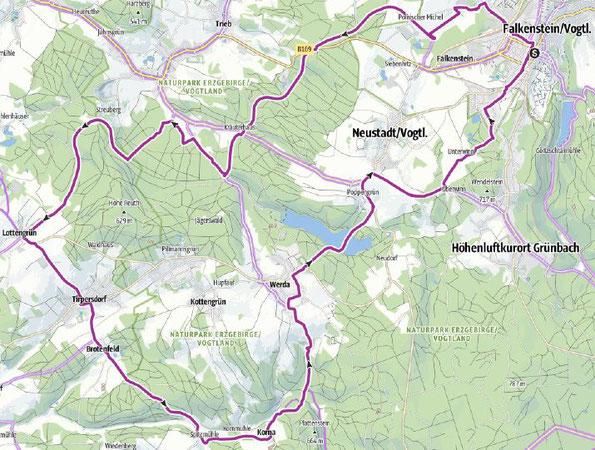 Karte zur Wanderung zur Frühlingsradtour im Vogtland, 11.04.2021