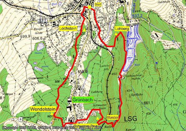 Wanderkarte Falkensteiner Felsenwanderweg