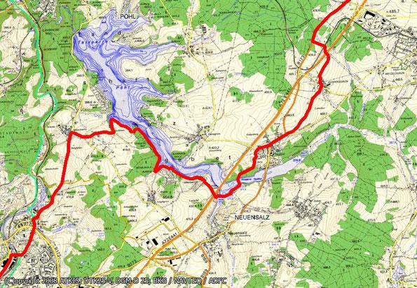 Tourenkarte Blatt 3 zur Radtour von Oelsnitz nach Reichenbach