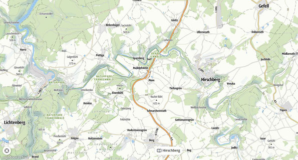 Übersichtskarte zur Wanderung: zum Skywalk nach Pottiga im thüringischen Vogtland