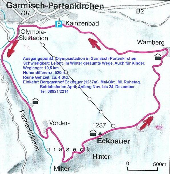 Karte zur Wanderung Garmisch-Partenkirchen – Partnachklamm – Eckbauer – Wamberg – GAP