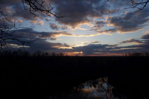 Sonnenuntergang über Leipzig, gesehen vom Westbruch bei Brandis, 16.03.2021 (Foto: J.Bartsch)
