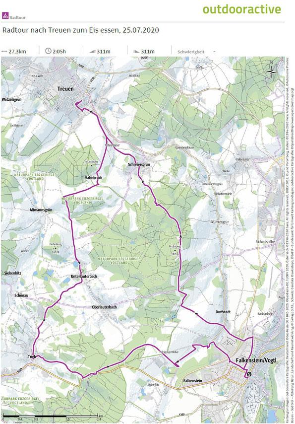 Übersichtskarte zur Radtour von Falkenstein nach Treuen am 25.07.2020