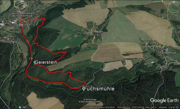 Karte zum Herbstspaziergang bei Wünschendorf / Elster