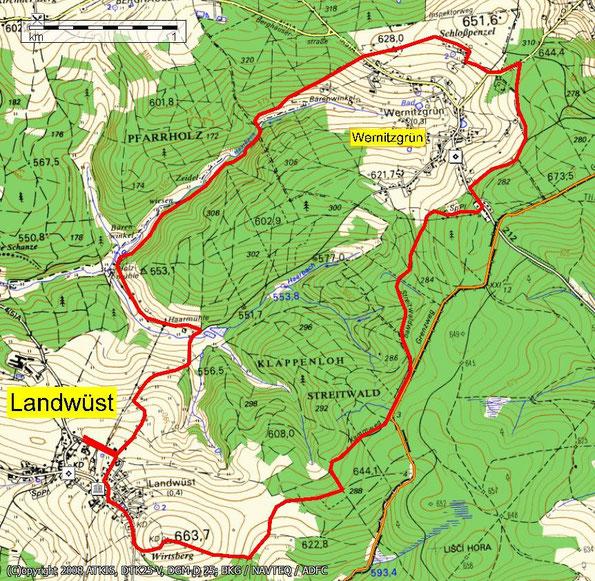 Interessante Variante: Wanderung auf den Wirtsberg 664m bei Landwüst - Vogtland - Topokarte