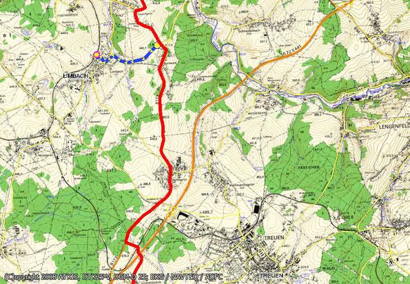 Tourenkarte Blatt 4 zur Radtour von Oelsnitz nach Reichenbach