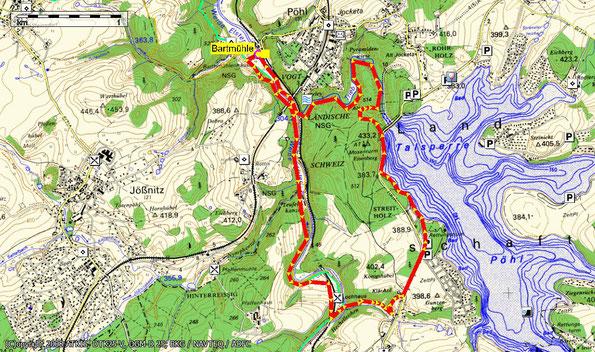 Übersichtskarte zur Wanderung: Rund um Eisenberg