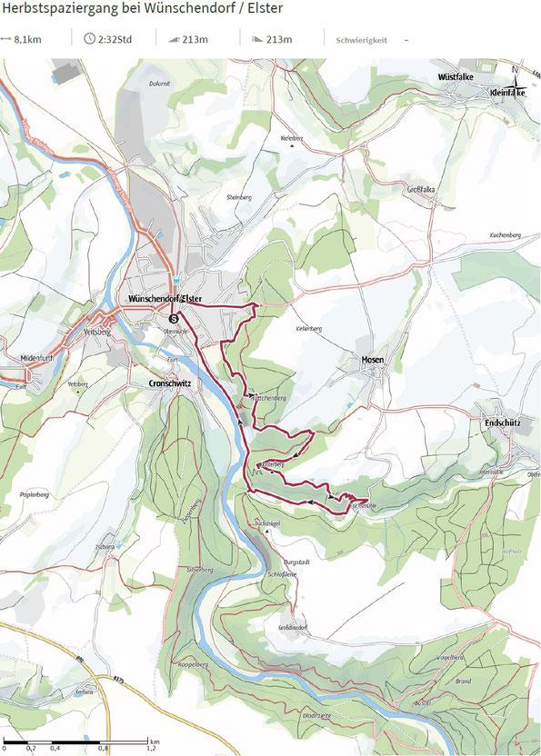 Outdooraktiv Karte zum Herbstspaziergang bei Wünschendorf / Elster