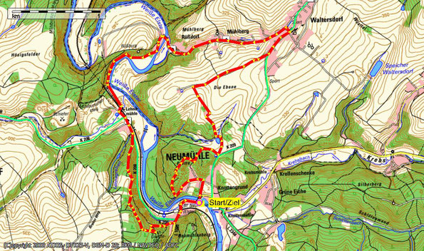 Übersichtskarte zur Wanderung: herbstliche Wanderung um Neumühle bei Greiz