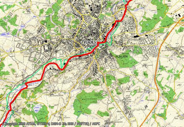 Tourenkarte Blatt 2 zur Radtour von Oelsnitz nach Reichenbach