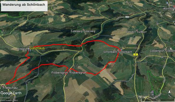 Übersichtskarte zur Frühherbstlichen Wanderung in Thüringen