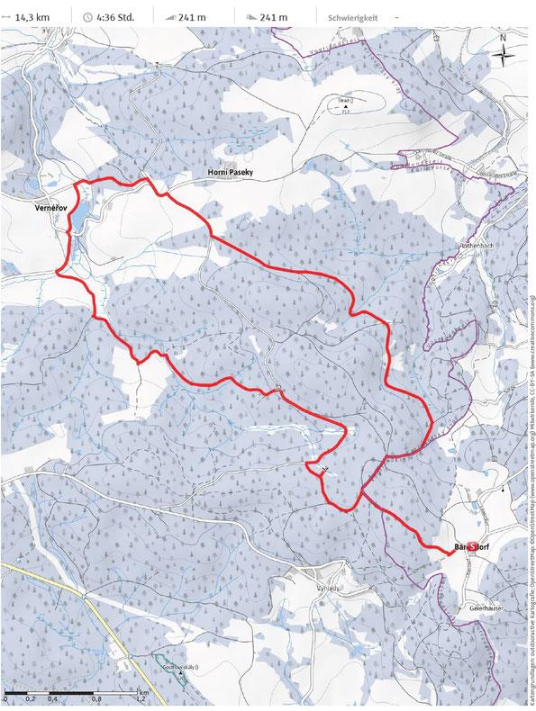 outdooraktive Karte zur Schneeschuhtour im oberen Vogtland Teil 2