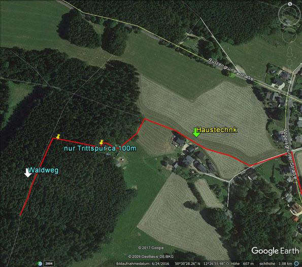 Rützengrüner Wander Acht - Detail Wegverlauf
