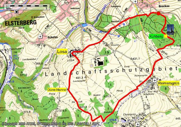 Karte zur Wanderung um den Brockauer Kuhberg