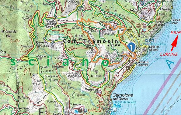 Übersichtskarte - Wanderung hoch übern Gardasee im Gebiet Tremosine