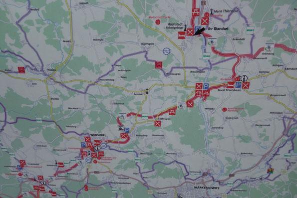 Kartenausschnitt vom Brückenradweg von Selb nach Wunsiedel, 29.05.2021