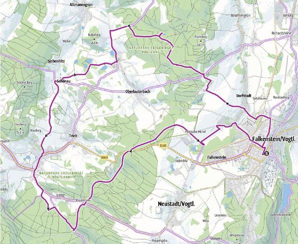 Übersichtskarte zur Tour der 4 Entenhäuschen,  eine schöne Fahrradtour um Falkenstein am 08.05.2021