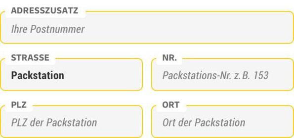 Geben Sie bei der Bestellung die Adresse Ihrer gewünschten Packstation wie folgt an: