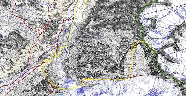 Kartenausschnitt zum Pitztaler Gletscherweg