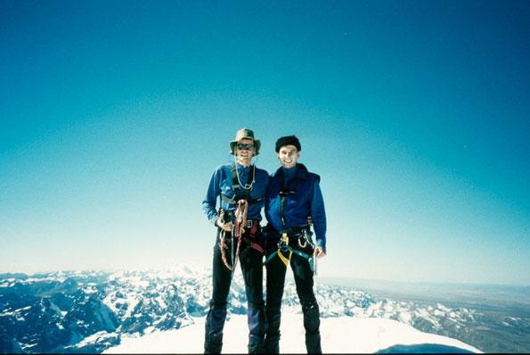 Auf dem Gipfel des Huayna Potosi mit Blick in die Cordillera Real (Bolivien)