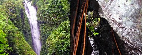 geteiltes Bild, Wasserfall und Höhlengrotte