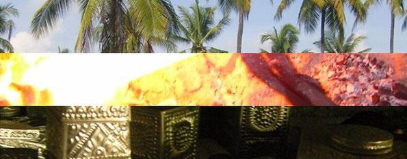 dreischichtige Collage: Palmen, Schmiedefeuer, Kunsthandwerksgegenstände