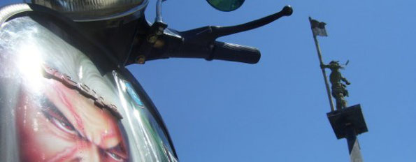 Detail of a Vespa in Singaraja's harbour