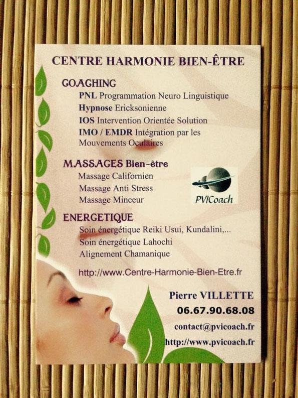 Harmonie Bien-être, Cabinet paris 17, Pierre Villette, coach certifié en PNL, Coaching de vie, coach paris 17, energetique, massages, qi nei tsang, reiki, hypnose