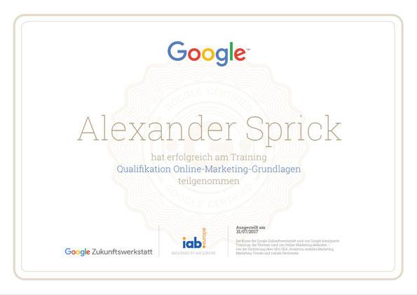 """Alexander Sprick hat erfolgreich am Training """"Qualifikation Online-Marketing-Grundlagen"""" teilgenommen"""