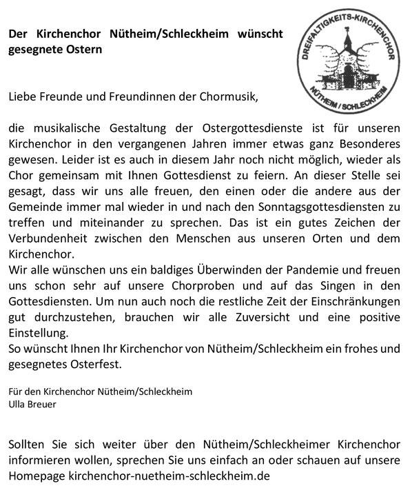 Pfarrbriefartikel Kirchenchor Nütheim-Schleckheim Ostern 2021